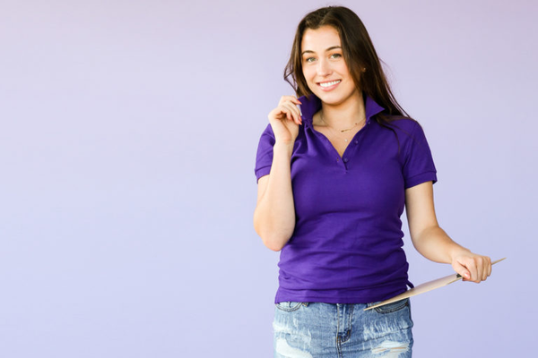 college student in purple polo shirt