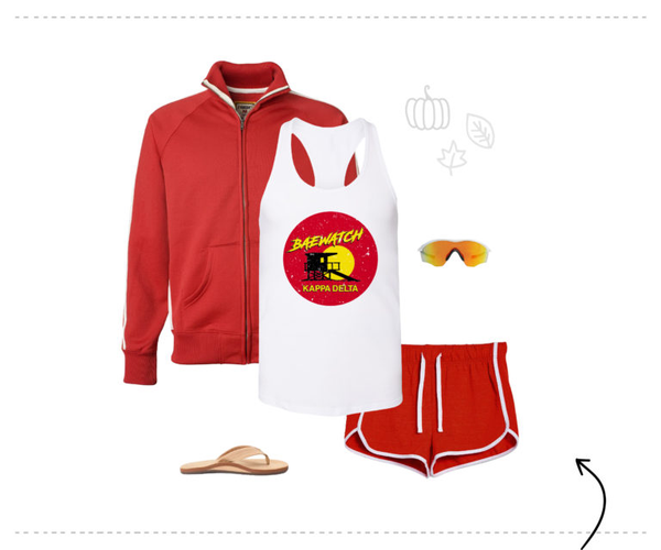Baywatch kappa delta white tank top and shorts