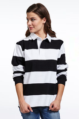 black and white striped sorority polo