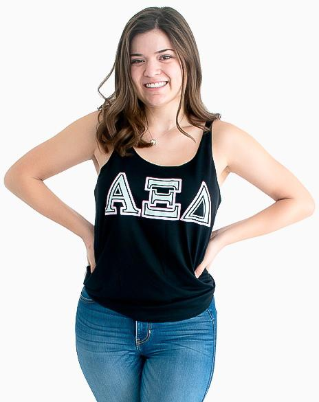 Sample Sale: Alpha Xi Delta Marble Letter Tank (S)-Adam Block Design