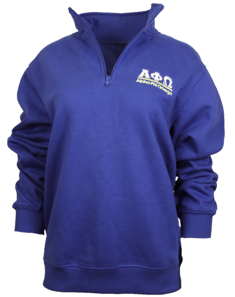Sample Sale: Alpha Phi Omega Half Zip Sweatshirt (S)-Adam Block Design
