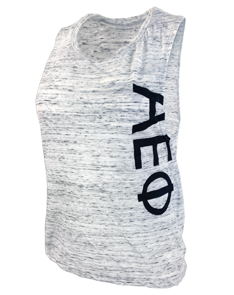 Sample Sale: Alpha Epsilon Phi Simple Letters Muscle Tank Top(S)-Adam Block Design