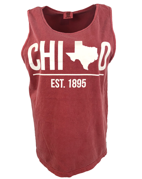 Sample Sale: Chi Omega Texas 1895 Tank (M)-Adam Block Design