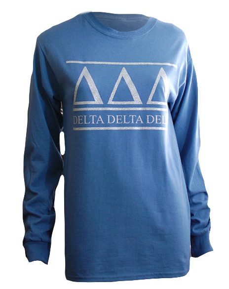 Sample Sale: Delta Delta Delta Simple Silver Glitter Long Sleeve (S)-Adam Block Design