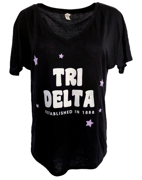 Sample Sale: Delta Delta Delta Star Vneck (S)-Adam Block Design