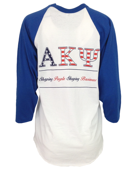 Sample Sale: Alpha Kappa Psi Flag Baseball Tee (M)-Adam Block Design