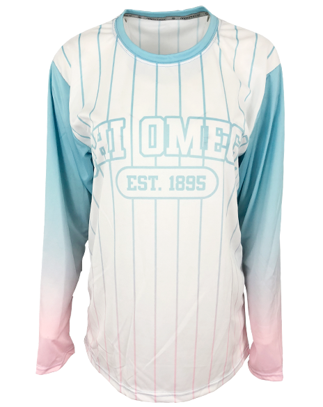 Sample Sale: Chi Omega Custom 1895 Gradient Baseball Tee (M)-Adam Block Design