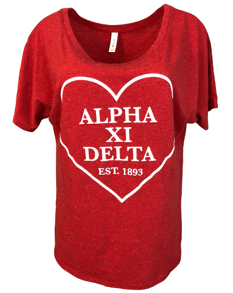 Sample Sale: Alpha Xi Delta Heart Tee (M)-Adam Block Design