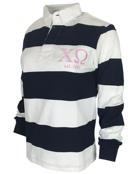 Sample Sale: Chi Omega Embroidered 1895 Rugby Long Sleeve-Adam Block Design
