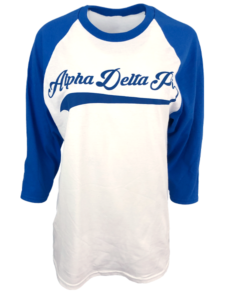 Sample Sale: Alpha Delta Pi Diamond World Series Baseball Tee (M)-Adam Block Design
