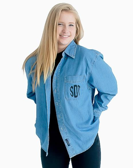 Sample Sale: Sigma Delta Tau Denim Long Sleeve (S)-Adam Block Design