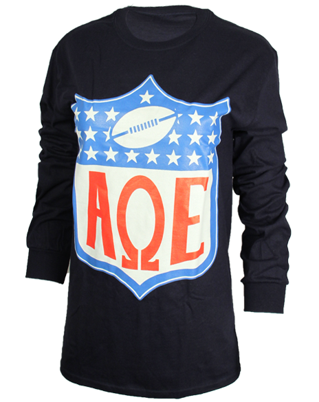 Sample Sale: Alpha Omega Epsilon Football Long Sleeve Tee Shirt(S)-Adam Block Design