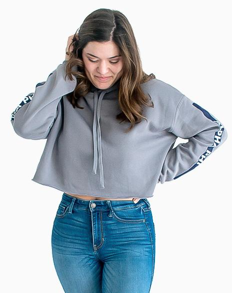 Sample Sale: Alpha Phi Stripe Cropped Hoodie (M)-Adam Block Design