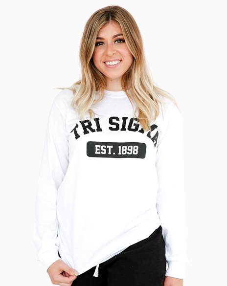 Sample Sale: Sigma Sigma Sigma Est 1898 Long Sleeve (S)-Adam Block Design