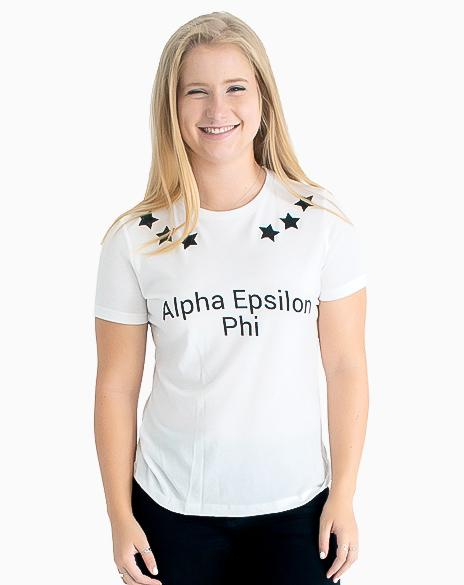 Sample Sale: Alpha Epsilon Phi Star Tee (S)-Adam Block Design