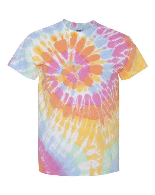 Multi-Color Spiral Short Sleeve T-Shirt-Adam Block Design