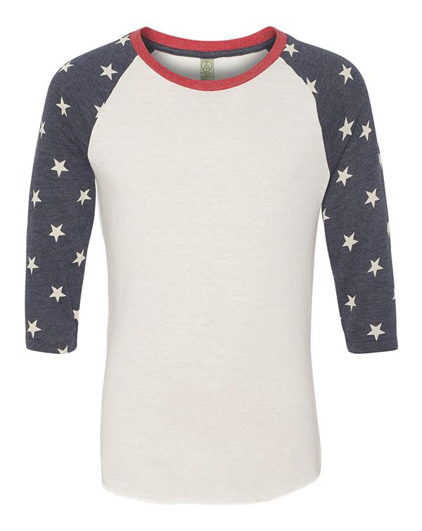 Alternative Printed Eco-Jersey Baseball Raglan Tee-blank-Adam Block Design