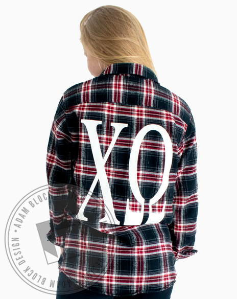 Chi Omega Simple Letter Flannel-gallery-Adam Block Design