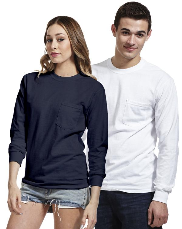 Gildan Long Sleeve Pocket Tee-blank-Adam Block Design