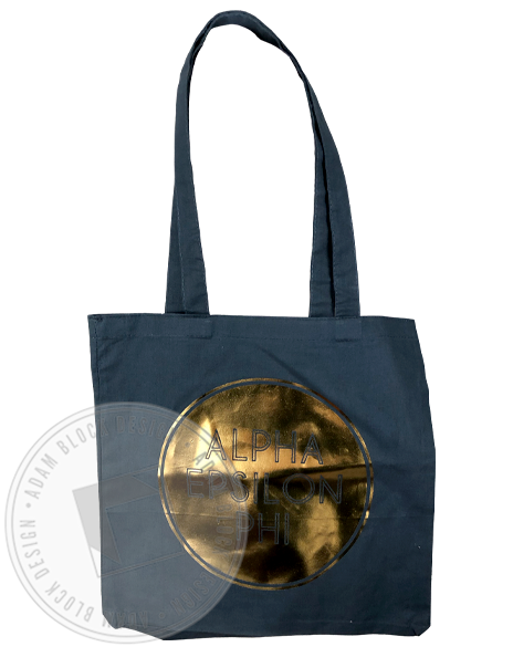 Alpha Epsilon Phi Gold Foil Circle Tote-Adam Block Design
