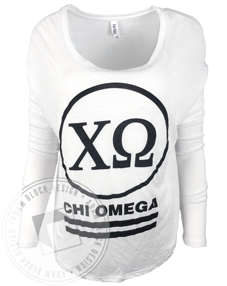 Chi Omega Circle Letters Long Sleeve-gallery-Adam Block Design