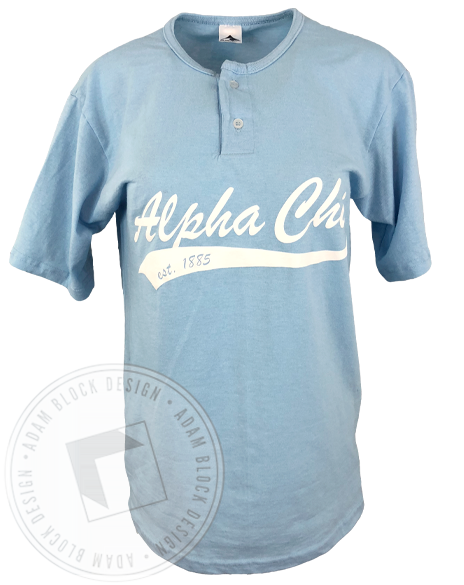 Alpha Chi Omega 1885 Two Button Baseball Tee-gallery-Adam Block Design