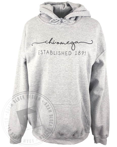 Chi Omega Wave Script Hoodie-gallery-Adam Block Design