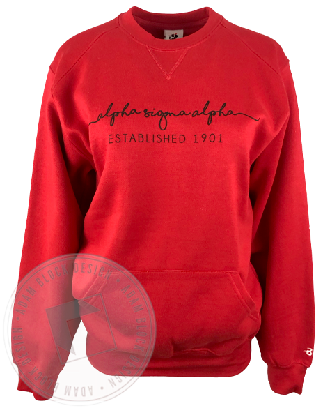 Alpha Sigma Alpha Wave Script Sweatshirt-gallery-Adam Block Design
