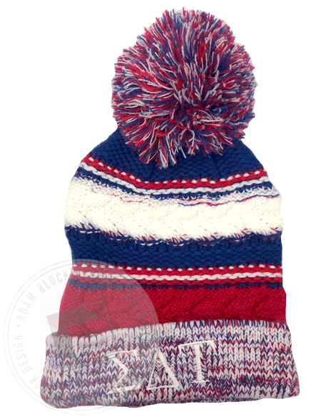 Sigma Delta Tau Embroidered Pom Beanie-Adam Block Design