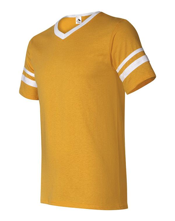 Augusta V-Neck Striped-Sleeve Tee-Adam Block Design