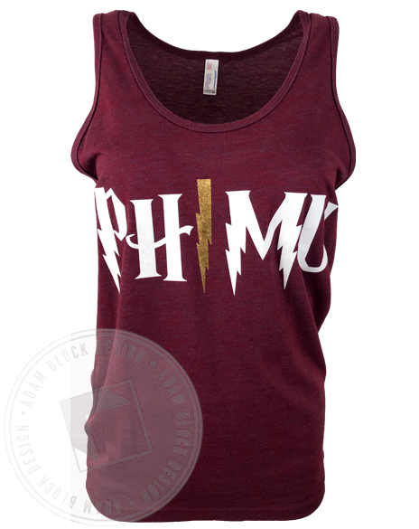 Phi Mu Lightning Bolt Tank-Adam Block Design