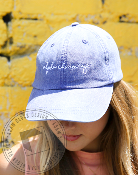 Alpha Chi Omega Simple Script Hat-gallery-Adam Block Design