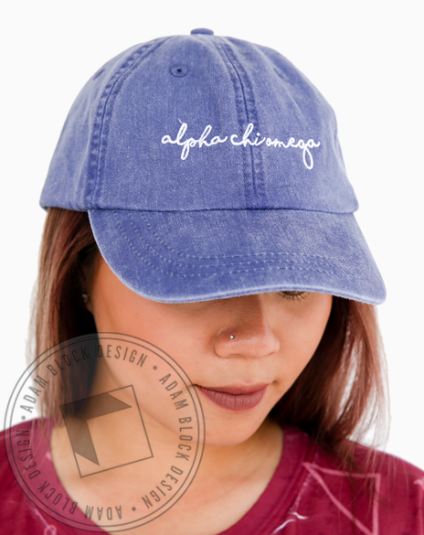 Alpha Chi Omega Simple Script Hat-Adam Block Design