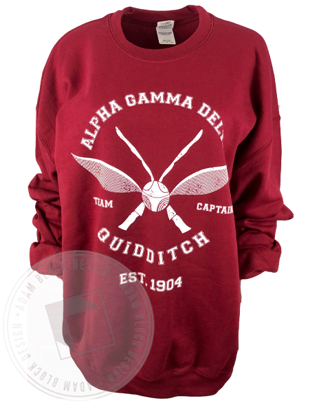 Alpha Gamma Delta Quidditch Captain Sweatshirt-Adam Block Design