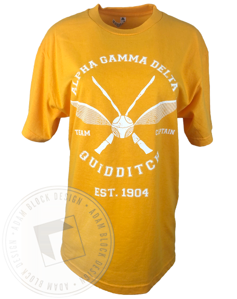 Alpha Gamma Delta Quidditch Captain T-Shirt-Adam Block Design