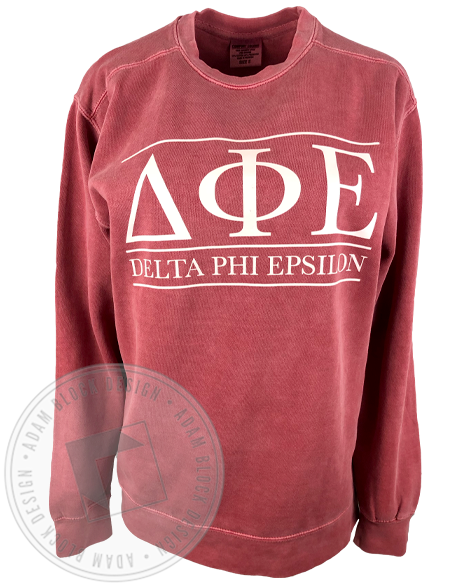 Delta Phi Epsilon Simple Letter Sweatshirt-Adam Block Design