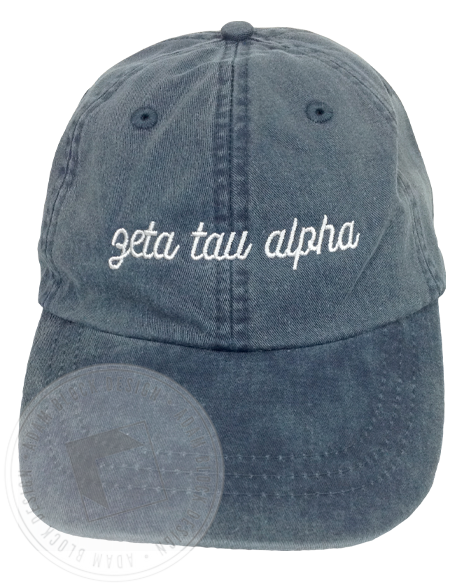 Zeta Tau Alpha Script Navy Hat-Adam Block Design
