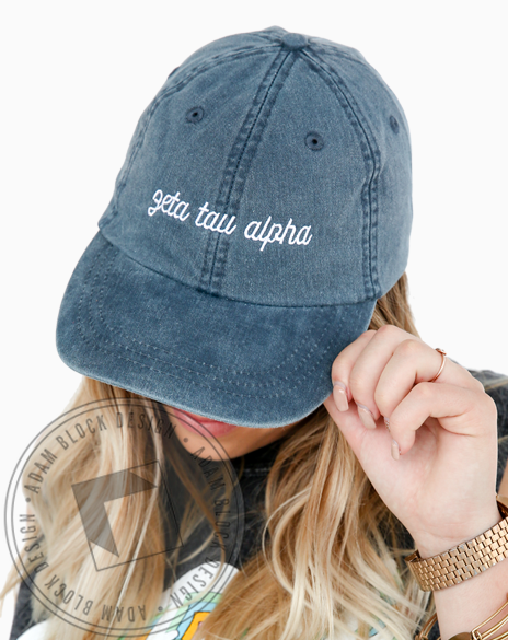 Zeta Tau Alpha Script Navy Hat-gallery-Adam Block Design