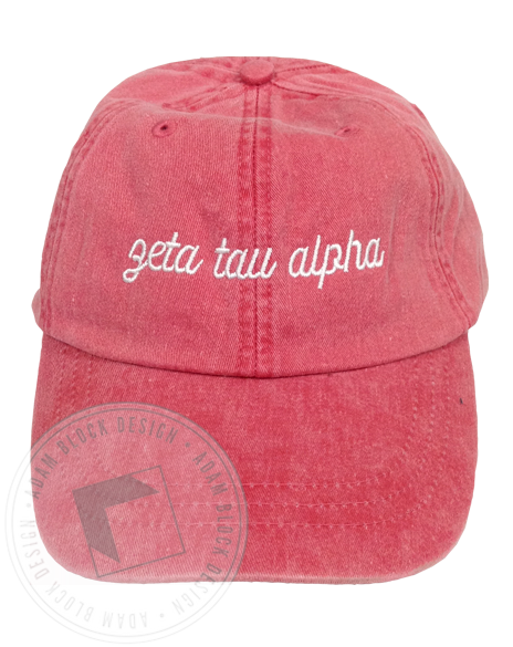 Zeta Tau Alpha Simple Script Coral Hat-Adam Block Design