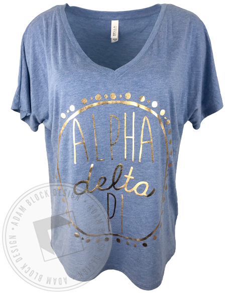 Alpha Delta Pi Gold Foil Circle V-neck-Adam Block Design