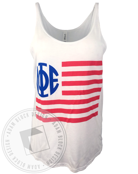 Delta Phi Epsilon Monogram Flag Tank-Adam Block Design