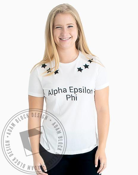 Alpha Epsilon Phi Six Star Tee Shirt-Adam Block Design