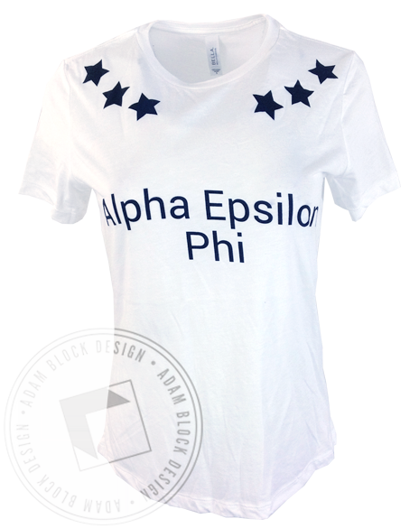 Alpha Epsilon Phi Six Star Tee Shirt-gallery-Adam Block Design
