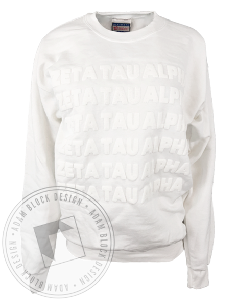 Zeta Tau Alpha White Puff Ink Sweatshirt-Adam Block Design
