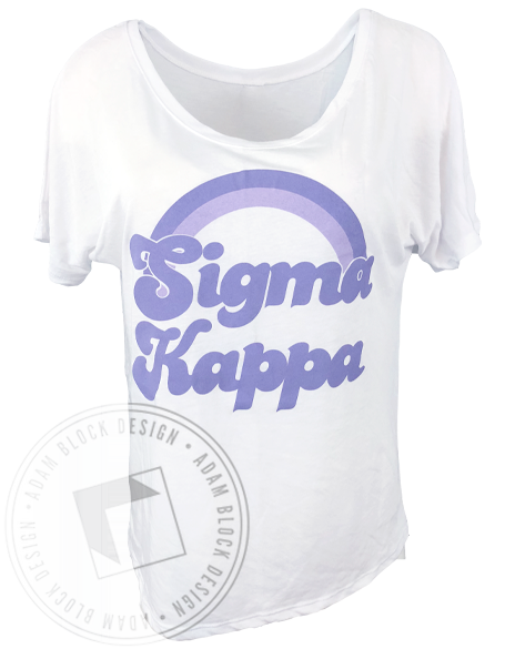 Sigma Kappa Purple Rainbow T-Shirt-Adam Block Design