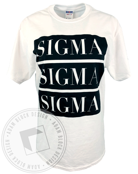 Sigma Sigma Sigma Three Block T-shirt-Adam Block Design
