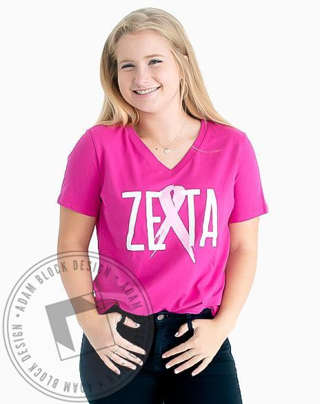 Zeta Tau Alpha Think Pink Ribbon V-neck-Adam Block Design