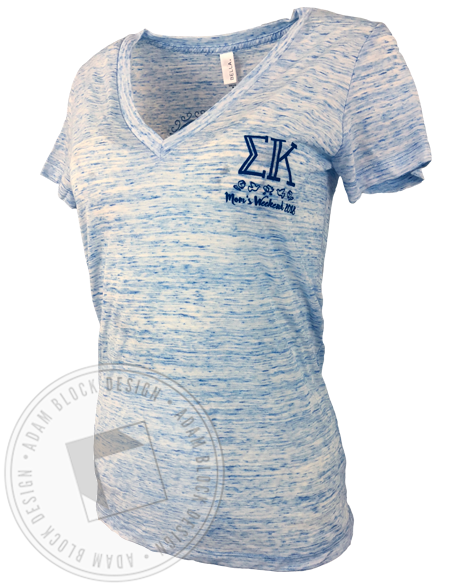 Sigma Kappa Mom's Weekend V-neck-Adam Block Design