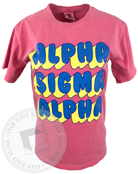 Alpha Sigma Alpha Bubble T-shirt-Adam Block Design