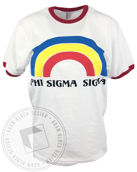 Phi Sigma Sigma Rainbow Ringer T-shirt-gallery-Adam Block Design